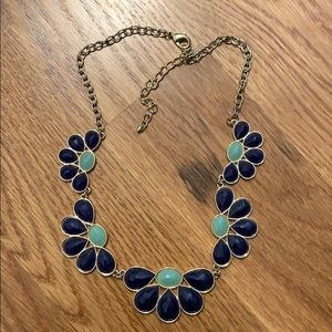 Navy blue and teal costume jewelry necklace